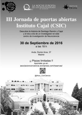 III Jornada de puertas abiertas Instituto Cajal - 30 de Septiembre de 2016